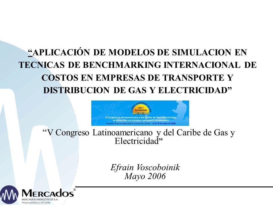 APLICACIÓN DE MODELOS DE SIMULACION EN TECNICAS DE BENCHMARKING INTERNACIONAL DE COSTOS EN EMPRESAS DE TRANSPORTE Y DISTRIBUCION DE GAS Y ELECTRICIDAD V Congreso Latinoamericano y del Caribe de Gas y Electricidad Efrain Voscoboinik Mayo 2006