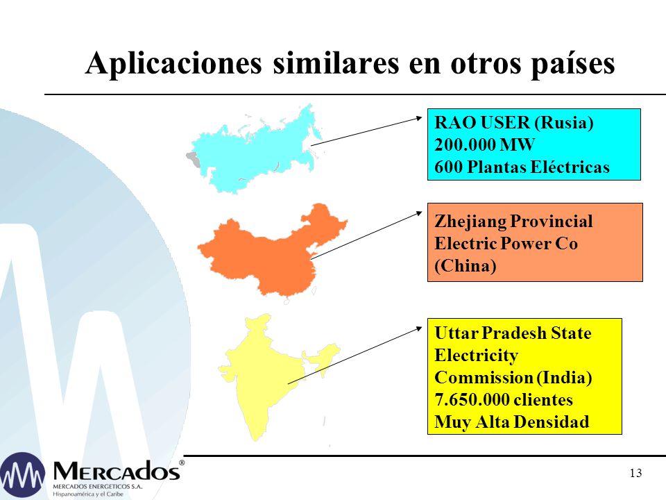 12 Aplicaciones similares en Sudamérica ANEEL 48 distribuidoras (2002/04) 16 distribuidoras (2005) 1 Transportista (2003) OSINERG: Area tipica 1 y 2 E