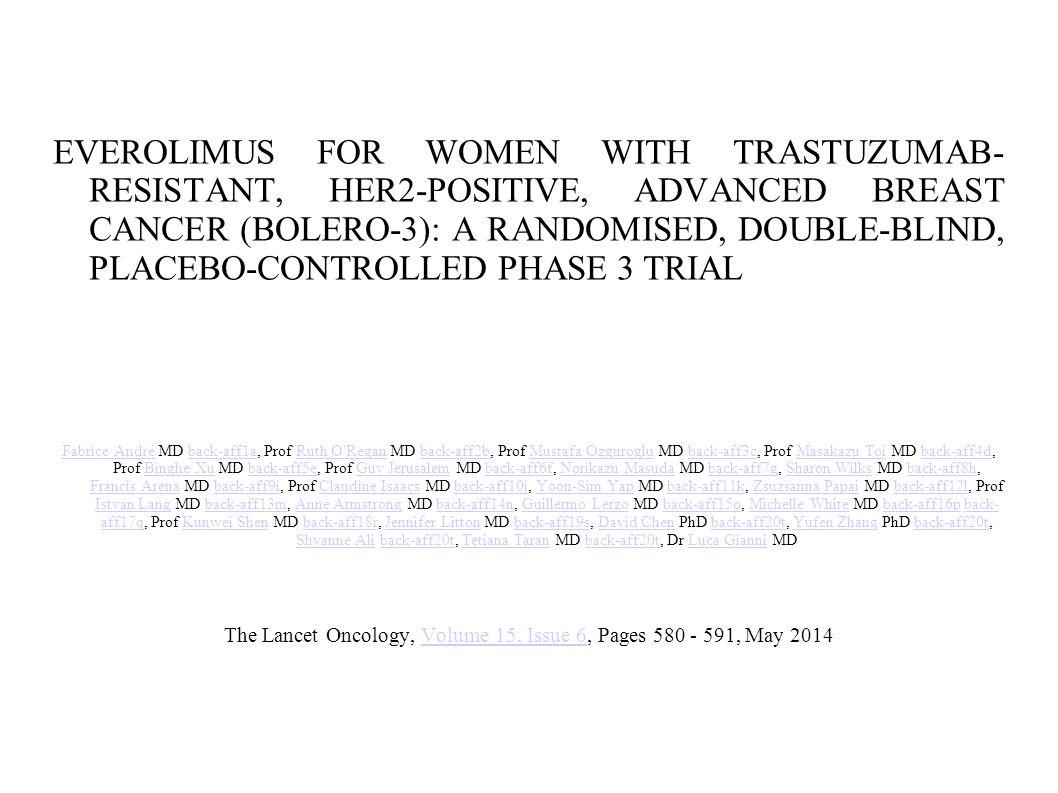 Resultados 569 mujeres recibieron everolimus (n = 284 ) o placebo ( n = 285 ) entre octubre 2009 y mayo de 2012.
