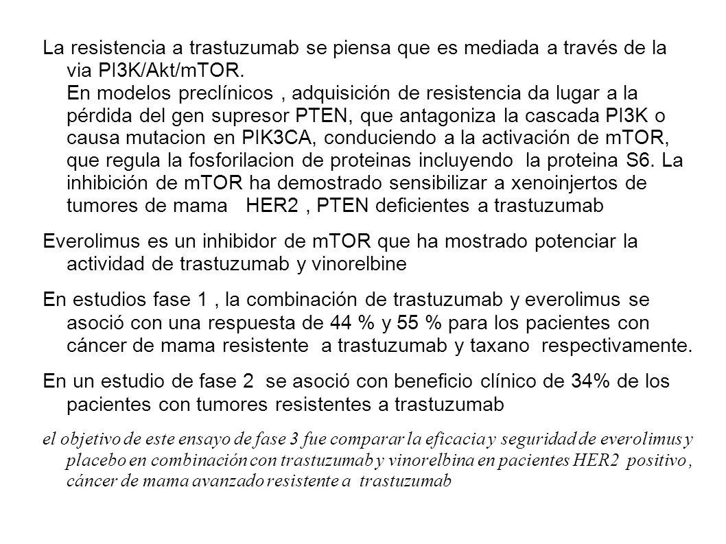La resistencia a trastuzumab se piensa que es mediada a través de la via PI3K/Akt/mTOR. En modelos preclínicos, adquisición de resistencia da lugar a