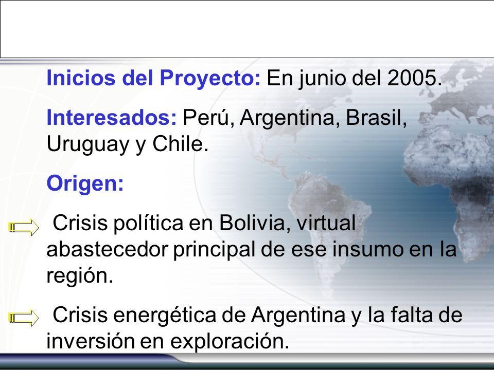 Inicios del Proyecto: En junio del 2005. Interesados: Perú, Argentina, Brasil, Uruguay y Chile. Origen: Crisis política en Bolivia, virtual abastecedo