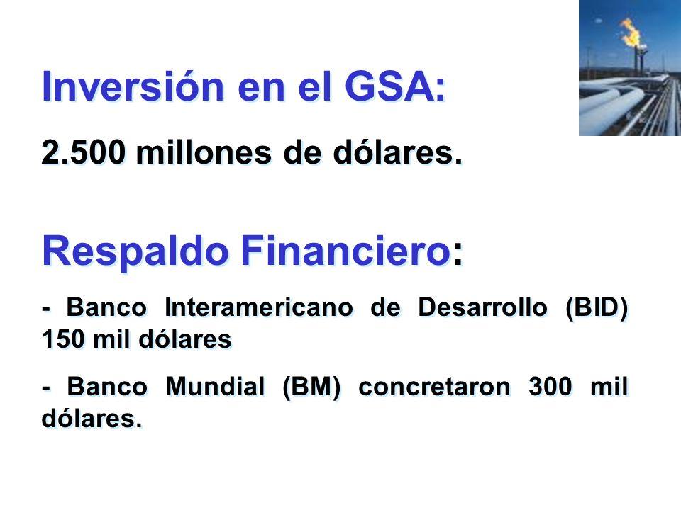 Inversión en el GSA: 2.500 millones de dólares. Inversión en el GSA: 2.500 millones de dólares. Respaldo Financiero: - Banco Interamericano de Desarro
