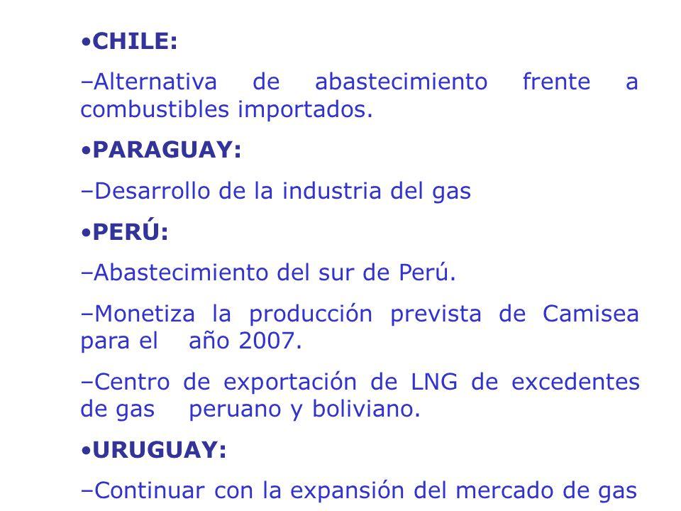 CHILE: –Alternativa de abastecimiento frente a combustibles importados. PARAGUAY: –Desarrollo de la industria del gas PERÚ: –Abastecimiento del sur de