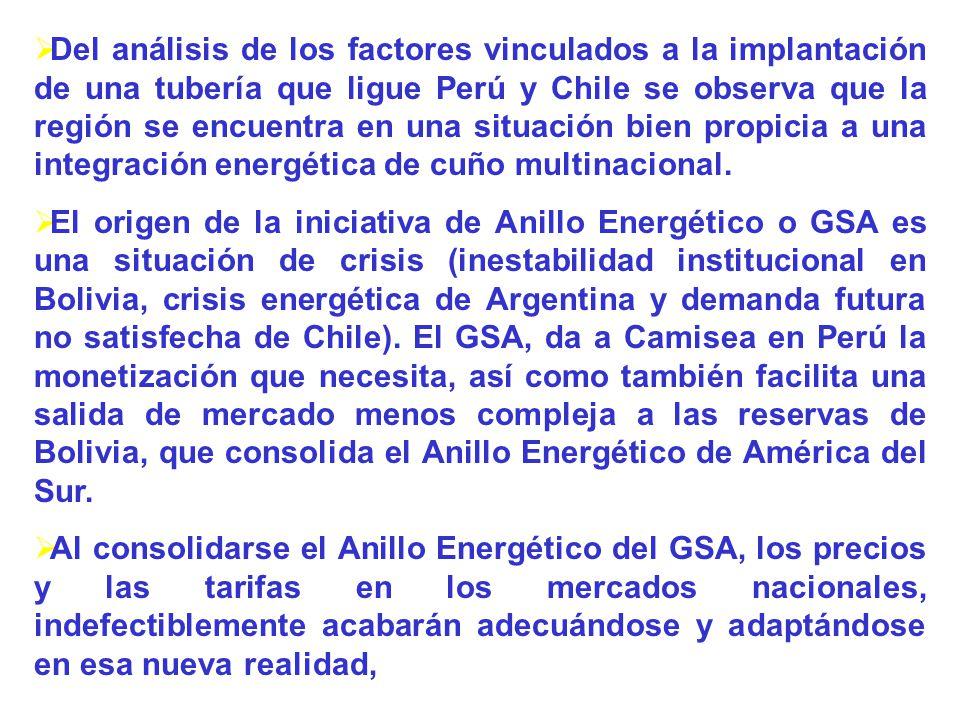 Del análisis de los factores vinculados a la implantación de una tubería que ligue Perú y Chile se observa que la región se encuentra en una situación