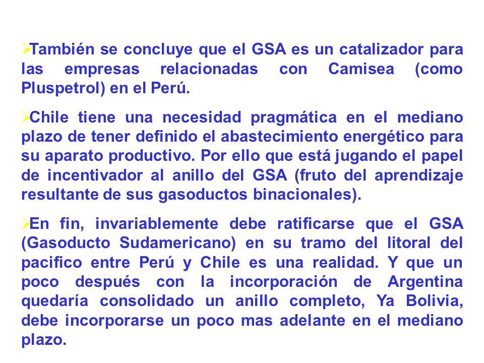 También se concluye que el GSA es un catalizador para las empresas relacionadas con Camisea (como Pluspetrol) en el Perú. Chile tiene una necesidad pr