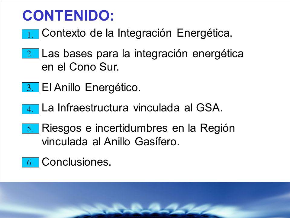 CONTENIDO: 1.1. 2. 3. 4. 5. 6. Contexto de la Integración Energética. Las bases para la integración energética en el Cono Sur. El Anillo Energético. L