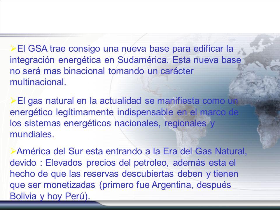 El GSA trae consigo una nueva base para edificar la integración energética en Sudamérica. Esta nueva base no será mas binacional tomando un carácter m