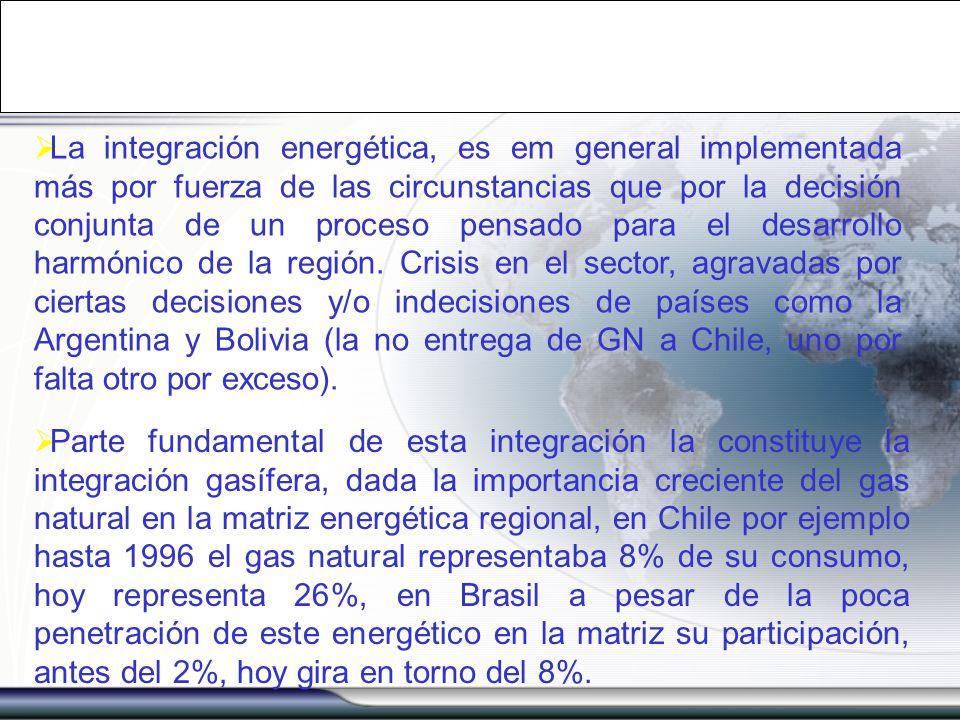 La integración energética, es em general implementada más por fuerza de las circunstancias que por la decisión conjunta de un proceso pensado para el