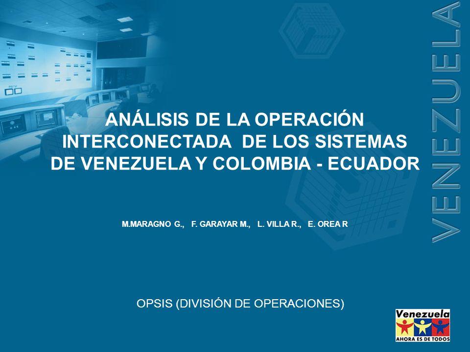 OPSIS (DIVISIÓN DE OPERACIONES) ANÁLISIS DE LA OPERACIÓN INTERCONECTADA DE LOS SISTEMAS DE VENEZUELA Y COLOMBIA - ECUADOR M.MARAGNO G., F. GARAYAR M.,