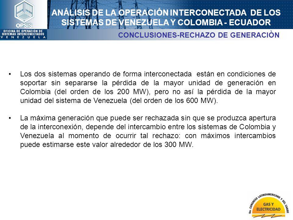 ANÁLISIS DE LA OPERACIÓN INTERCONECTADA DE LOS SISTEMAS DE VENEZUELA Y COLOMBIA - ECUADOR CONCLUSIONES-RECHAZO DE GENERACIÒN Los dos sistemas operando