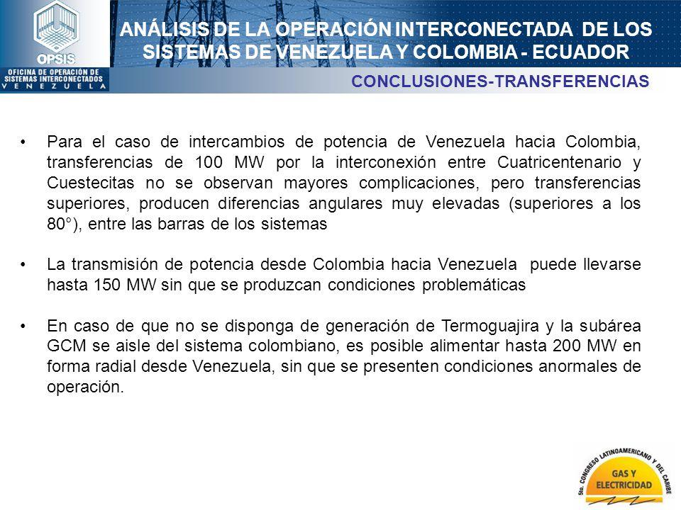 ANÁLISIS DE LA OPERACIÓN INTERCONECTADA DE LOS SISTEMAS DE VENEZUELA Y COLOMBIA - ECUADOR CONCLUSIONES-TRANSFERENCIAS Para el caso de intercambios de