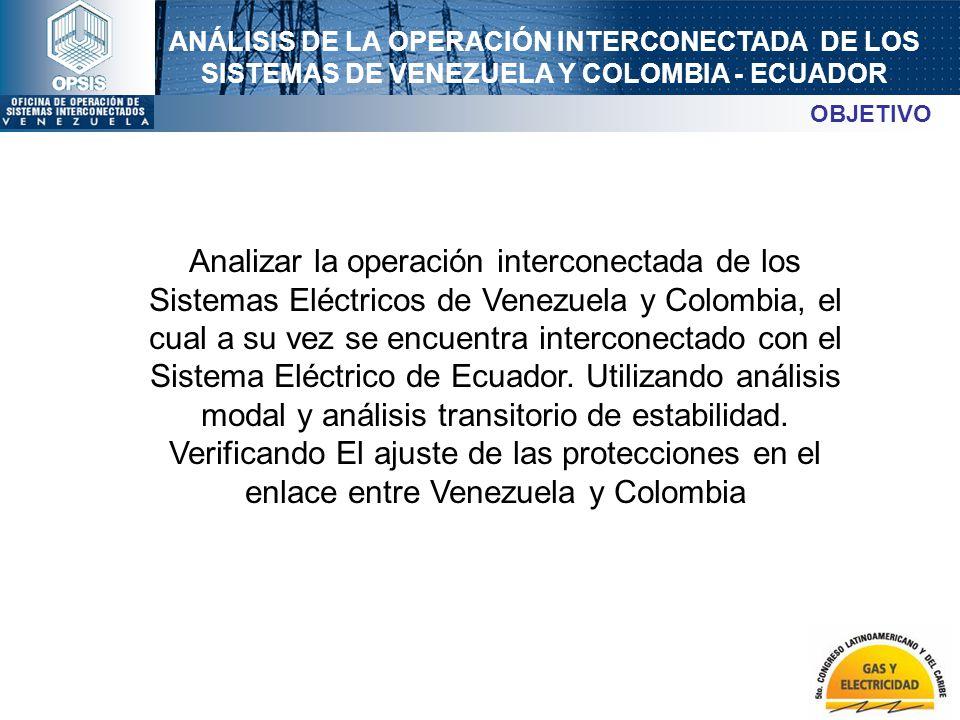 ANÁLISIS DE LA OPERACIÓN INTERCONECTADA DE LOS SISTEMAS DE VENEZUELA Y COLOMBIA - ECUADOR Analizar la operación interconectada de los Sistemas Eléctri
