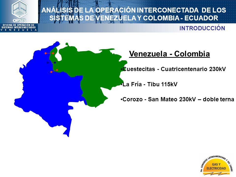 ANÁLISIS DE LA OPERACIÓN INTERCONECTADA DE LOS SISTEMAS DE VENEZUELA Y COLOMBIA - ECUADOR Venezuela - Colombia Cuestecitas - Cuatricentenario 230kV La