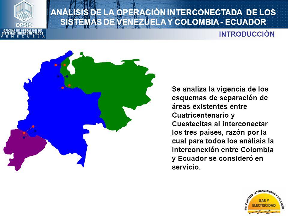 ANÁLISIS DE LA OPERACIÓN INTERCONECTADA DE LOS SISTEMAS DE VENEZUELA Y COLOMBIA - ECUADOR Se analiza la vigencia de los esquemas de separación de área