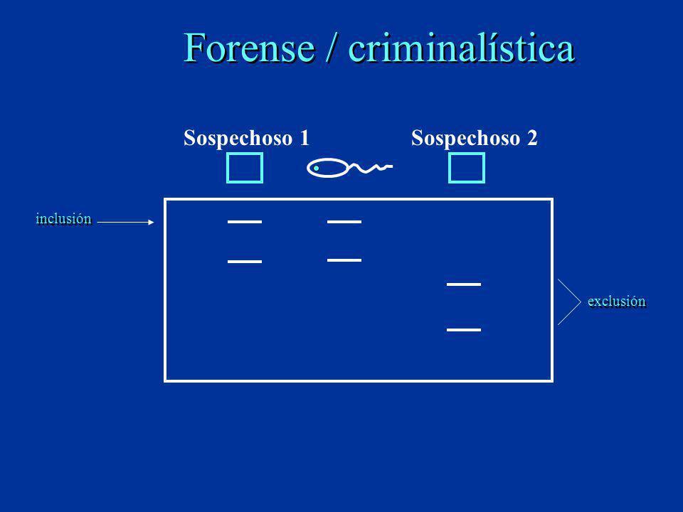 Forense / criminalística Sospechoso 1Sospechoso 2 inclusión exclusión