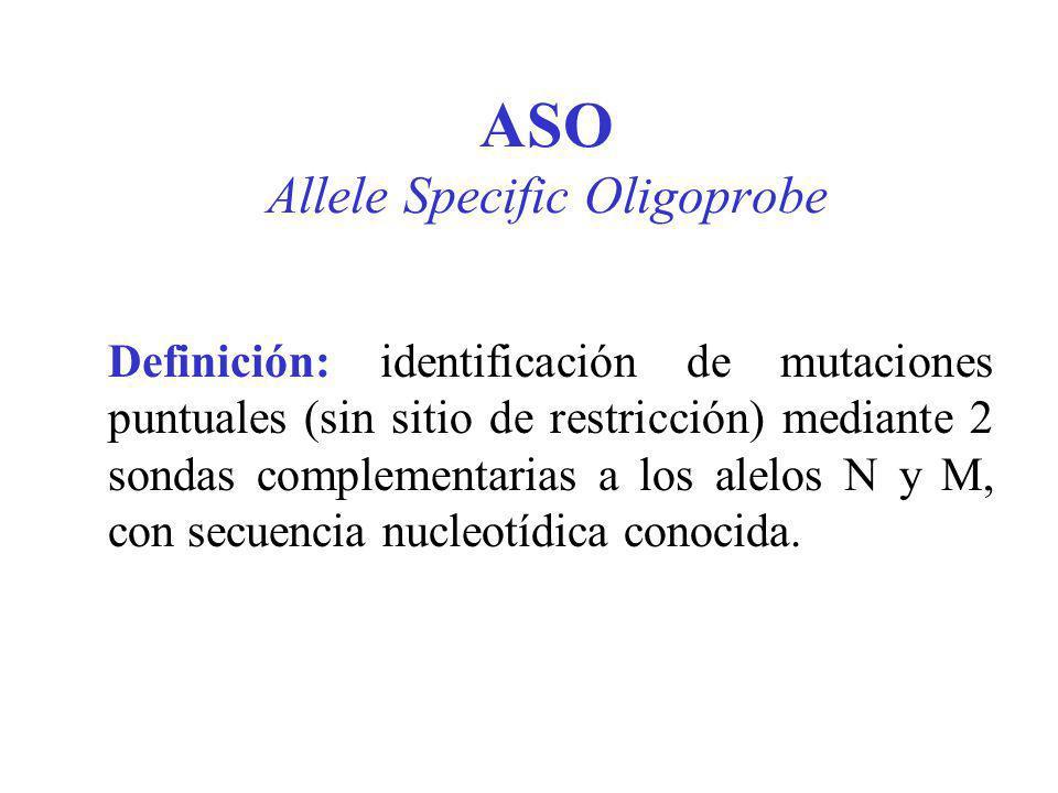 ASO Allele Specific Oligoprobe Definición: identificación de mutaciones puntuales (sin sitio de restricción) mediante 2 sondas complementarias a los a