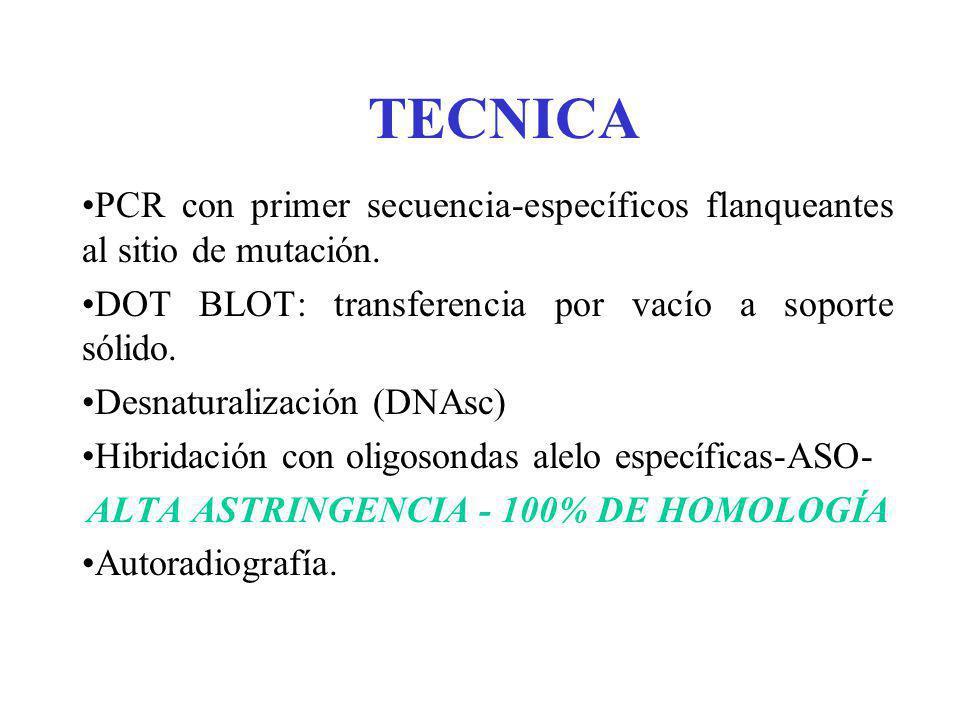 TECNICA PCR con primer secuencia-específicos flanqueantes al sitio de mutación. DOT BLOT: transferencia por vacío a soporte sólido. Desnaturalización