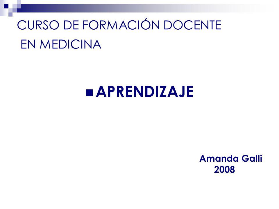 CURSO DE FORMACIÓN DOCENTE EN MEDICINA APRENDIZAJE Amanda Galli 2008