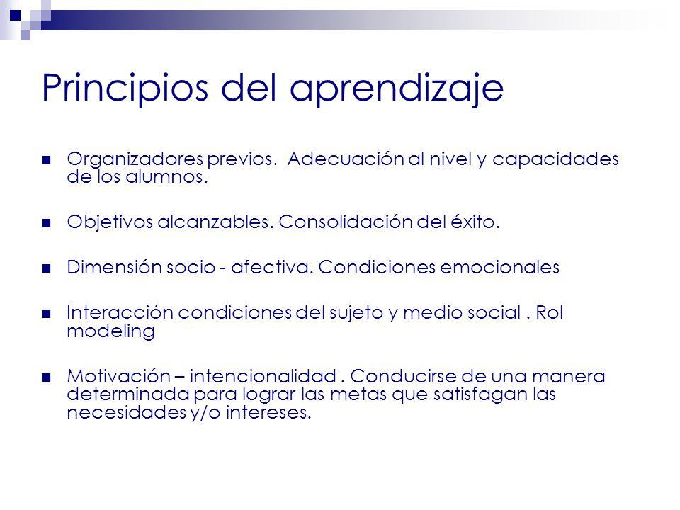 Principios del aprendizaje Organizadores previos.Adecuación al nivel y capacidades de los alumnos.