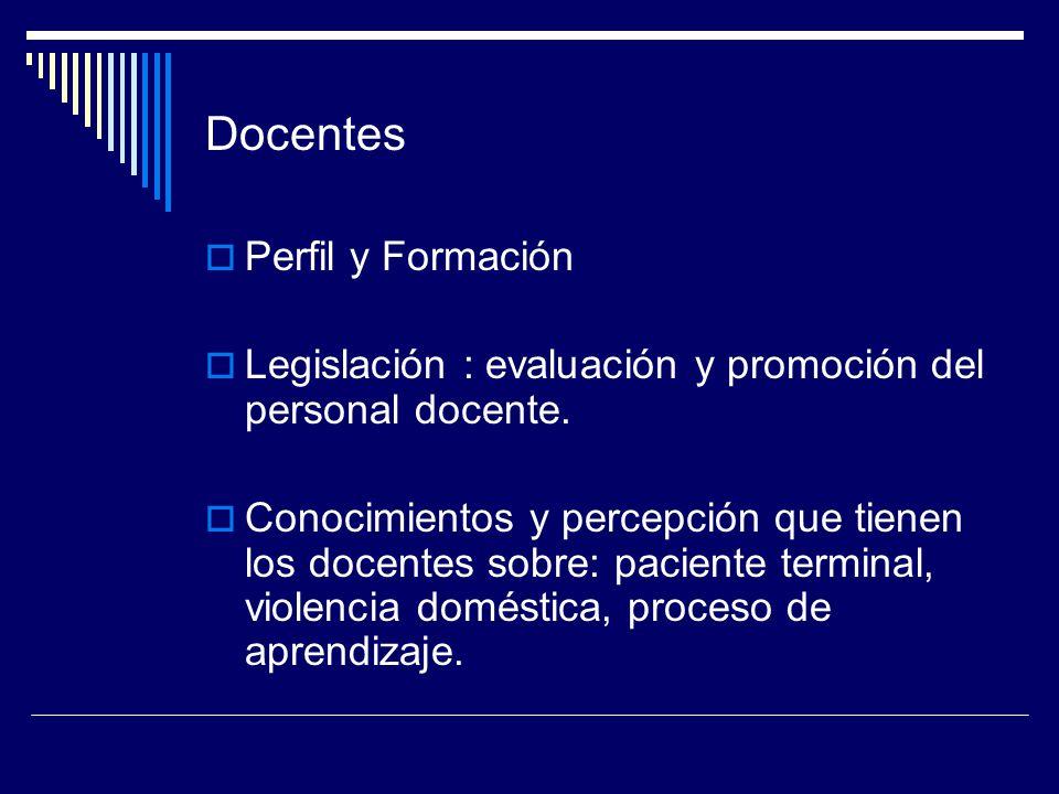 Docentes Perfil y Formación Legislación : evaluación y promoción del personal docente. Conocimientos y percepción que tienen los docentes sobre: pacie