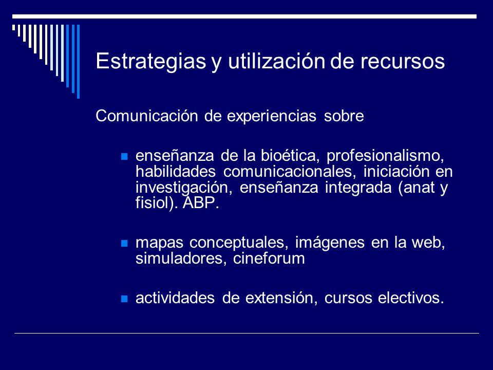 Estrategias y utilización de recursos Comunicación de experiencias sobre enseñanza de la bioética, profesionalismo, habilidades comunicacionales, inic