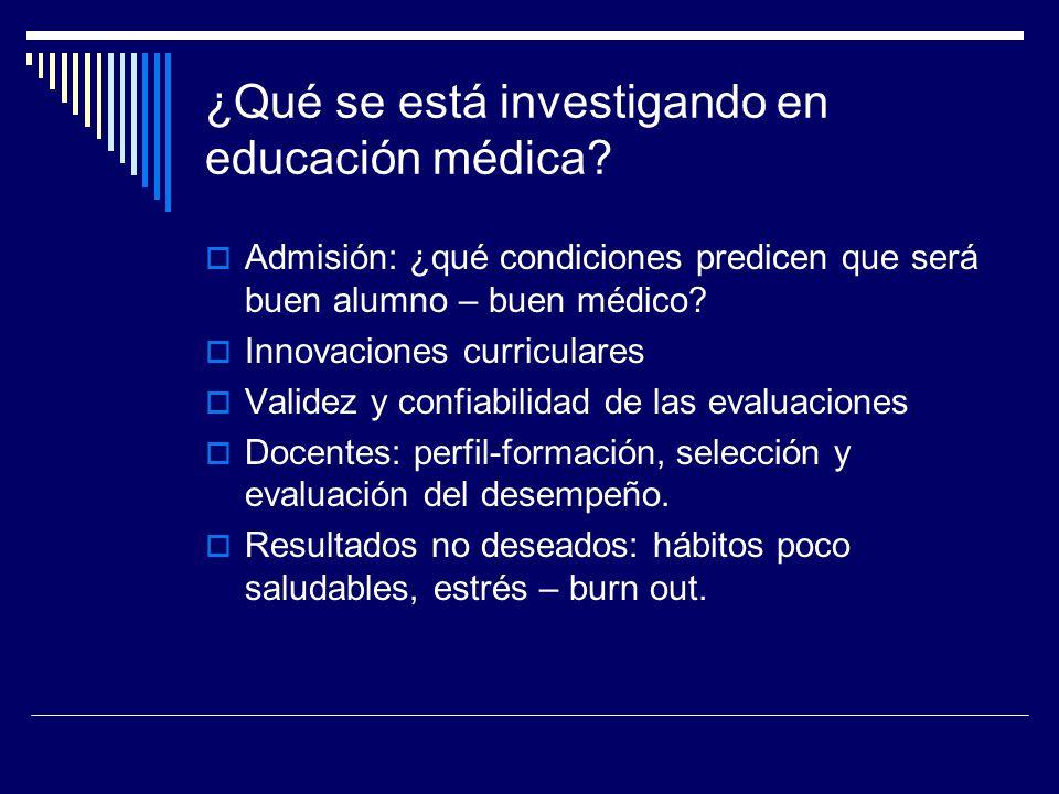 ¿Qué se está investigando en educación médica? Admisión: ¿qué condiciones predicen que será buen alumno – buen médico? Innovaciones curriculares Valid