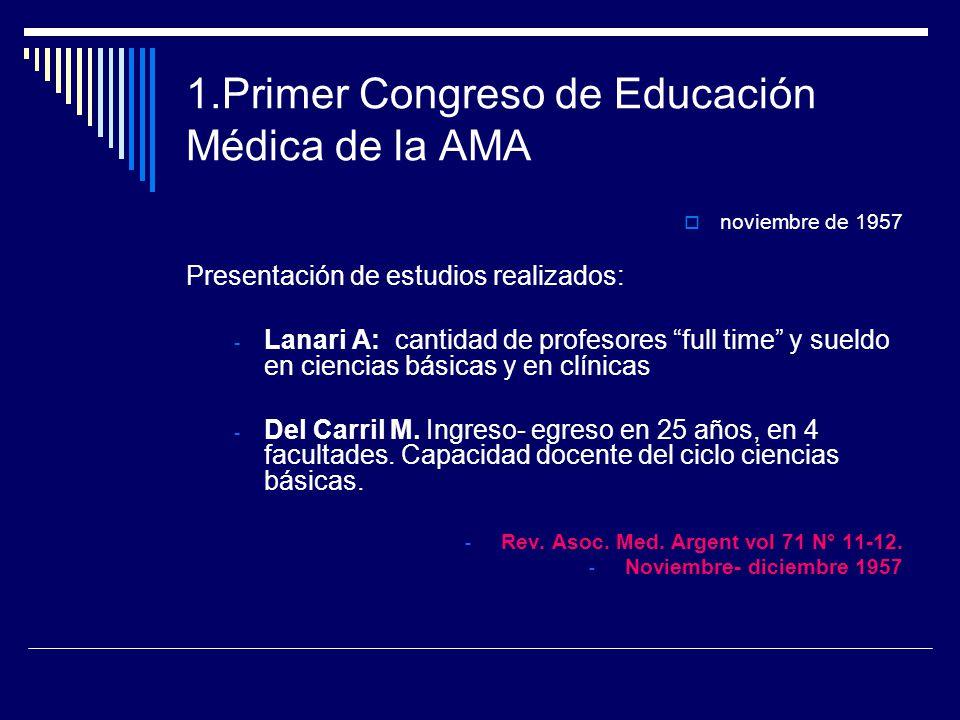1.Primer Congreso de Educación Médica de la AMA noviembre de 1957 Presentación de estudios realizados: - Lanari A: cantidad de profesores full time y