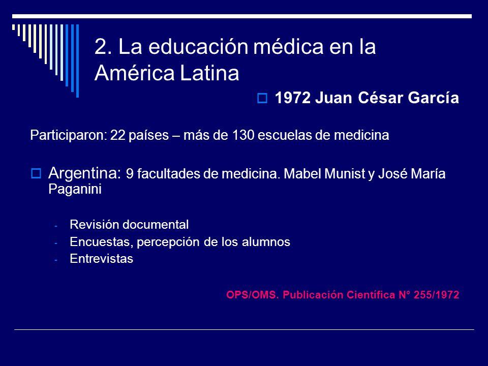 2. La educación médica en la América Latina 1972 Juan César García Participaron: 22 países – más de 130 escuelas de medicina Argentina: 9 facultades d