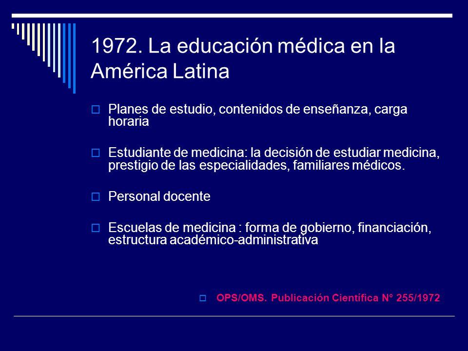 1972. La educación médica en la América Latina Planes de estudio, contenidos de enseñanza, carga horaria Estudiante de medicina: la decisión de estudi
