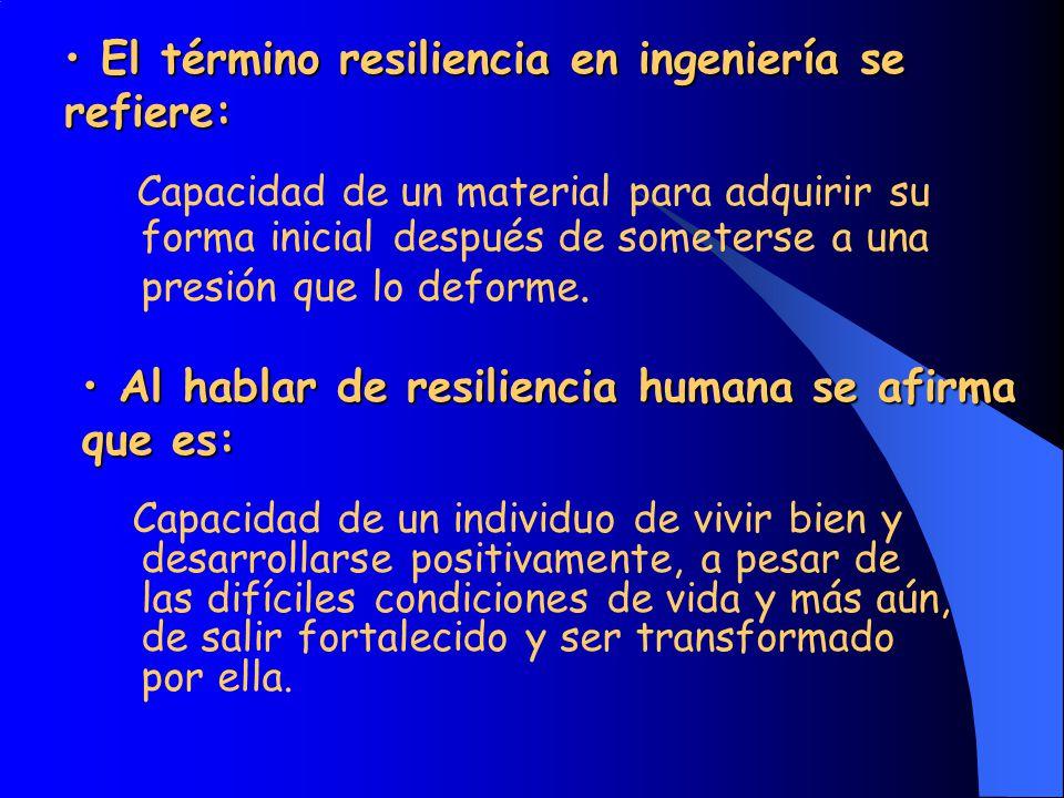 El término resiliencia en ingeniería se refiere: El término resiliencia en ingeniería se refiere: Capacidad de un individuo de vivir bien y desarrolla