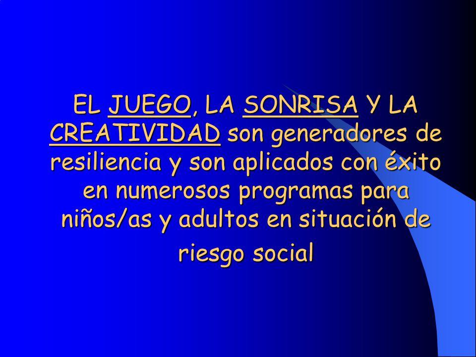 EL JUEGO, LA SONRISA Y LA CREATIVIDAD son generadores de resiliencia y son aplicados con éxito en numerosos programas para niños/as y adultos en situa