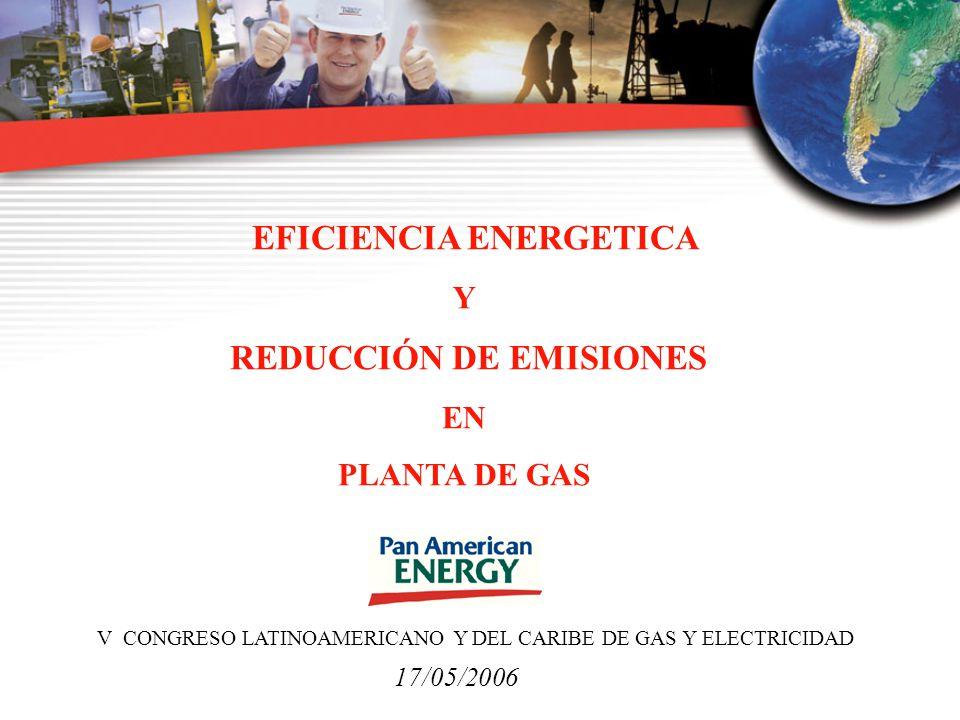 EFICIENCIA ENERGETICA Y REDUCCIÓN DE EMISIONES EN PLANTA DE GAS 17/05/2006 V CONGRESO LATINOAMERICANO Y DEL CARIBE DE GAS Y ELECTRICIDAD