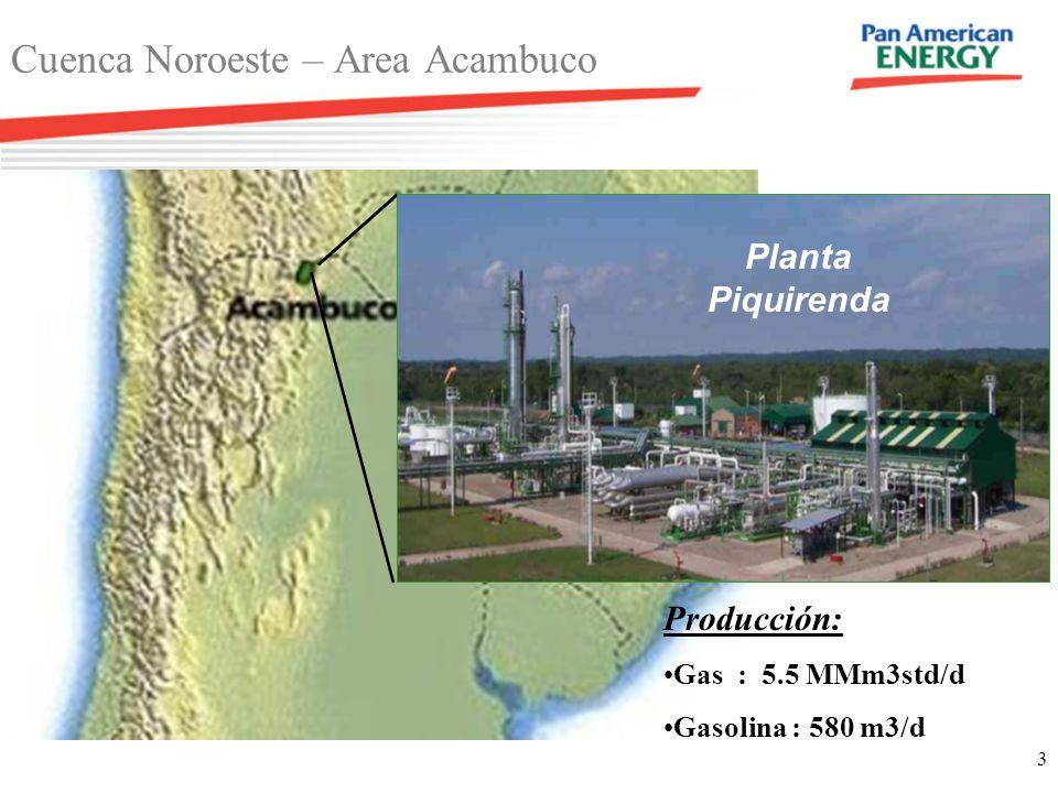 3 Cuenca Noroeste – Area Acambuco Producción: Gas : 5.5 MMm3std/d Gasolina : 580 m3/d Planta Piquirenda