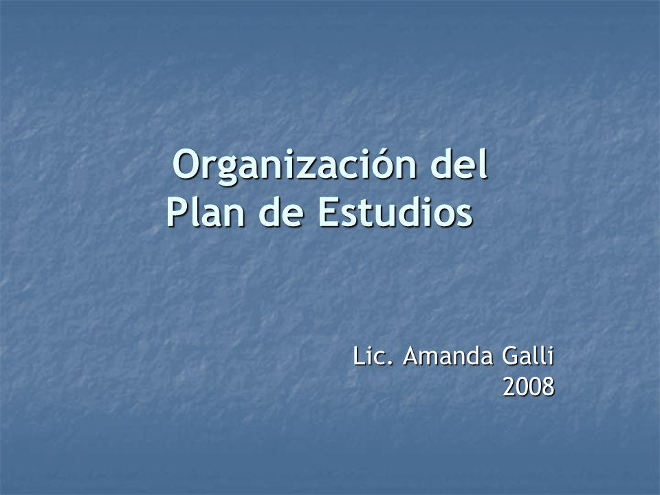 Organización del Plan de Estudios Lic. Amanda Galli 2008
