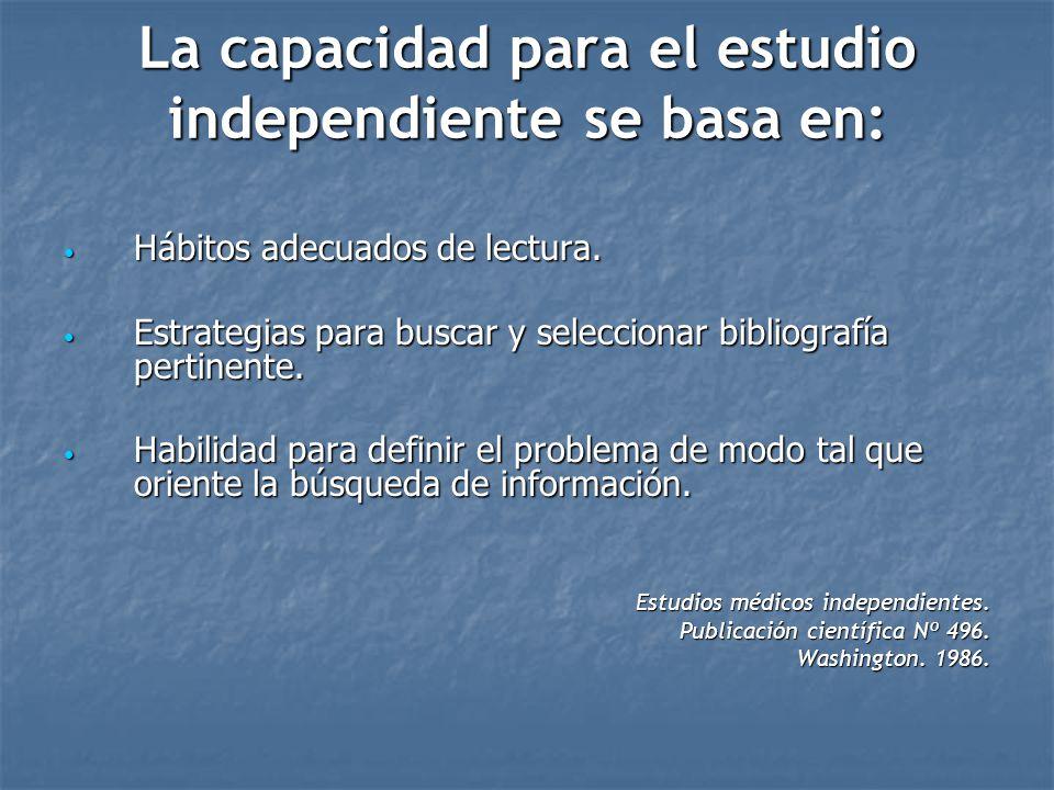 La capacidad para el estudio independiente se basa en: Hábitos adecuados de lectura. Hábitos adecuados de lectura. Estrategias para buscar y seleccion