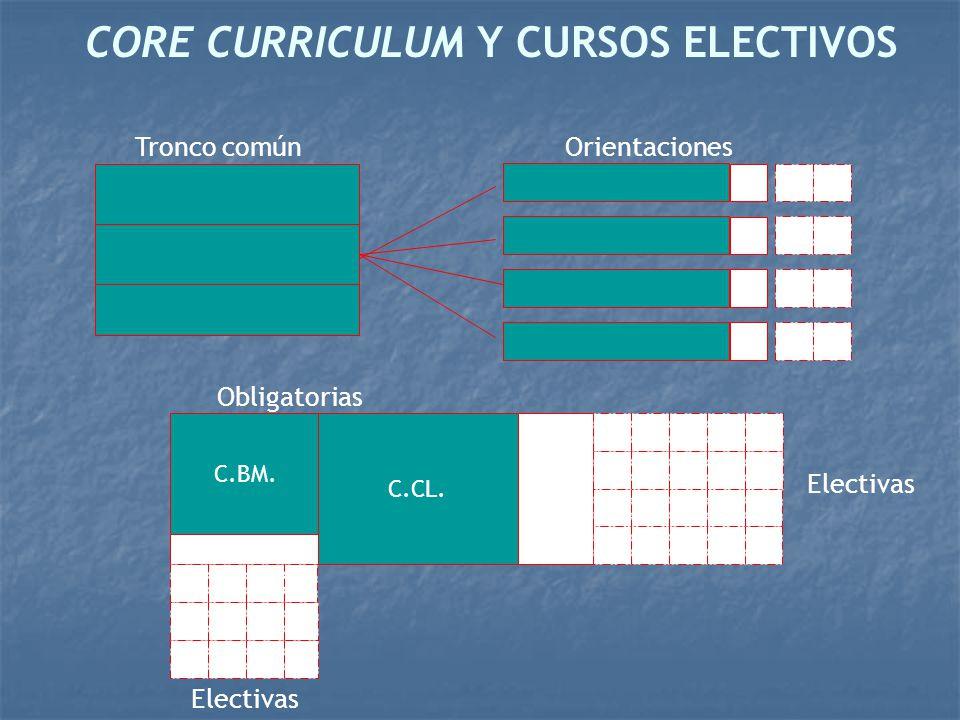 CORE CURRICULUM Y CURSOS ELECTIVOS Tronco comúnOrientaciones C.BM. C.CL. Electivas Obligatorias Electivas