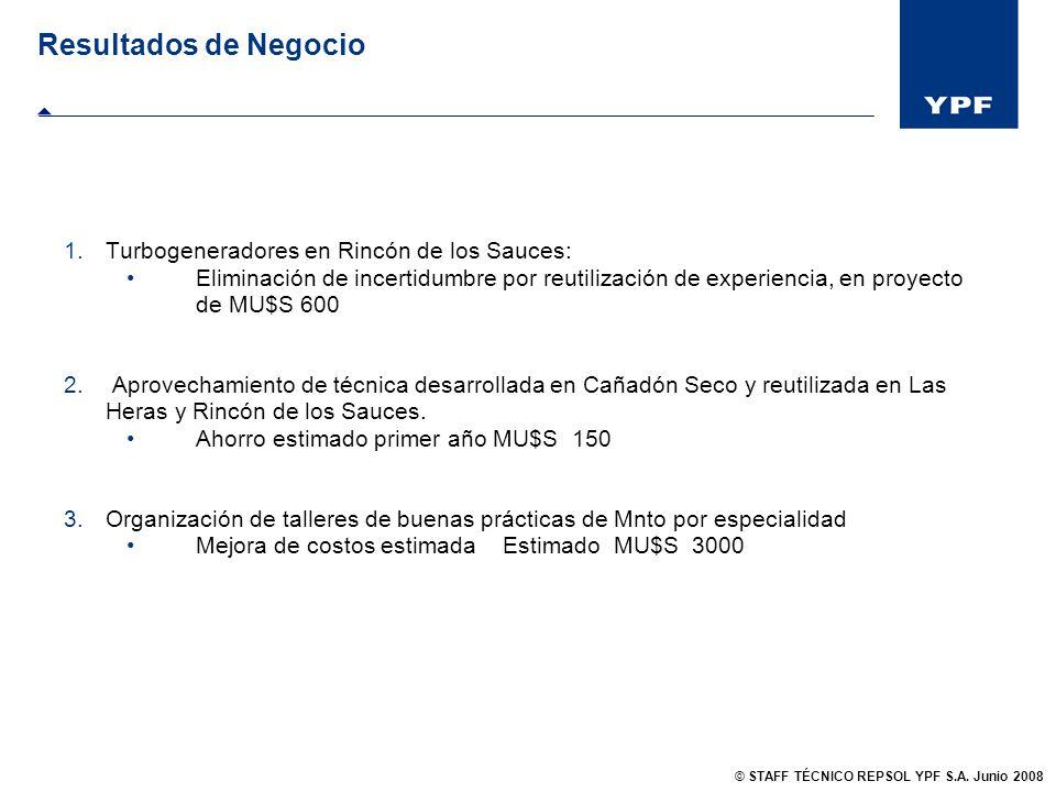 Resultados de Negocio 1.Turbogeneradores en Rincón de los Sauces: Eliminación de incertidumbre por reutilización de experiencia, en proyecto de MU$S 6