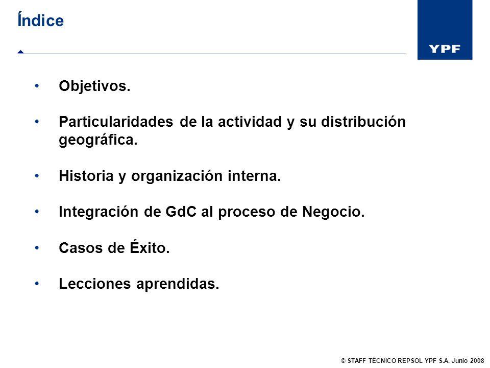 Objetivos. Particularidades de la actividad y su distribución geográfica. Historia y organización interna. Integración de GdC al proceso de Negocio. C