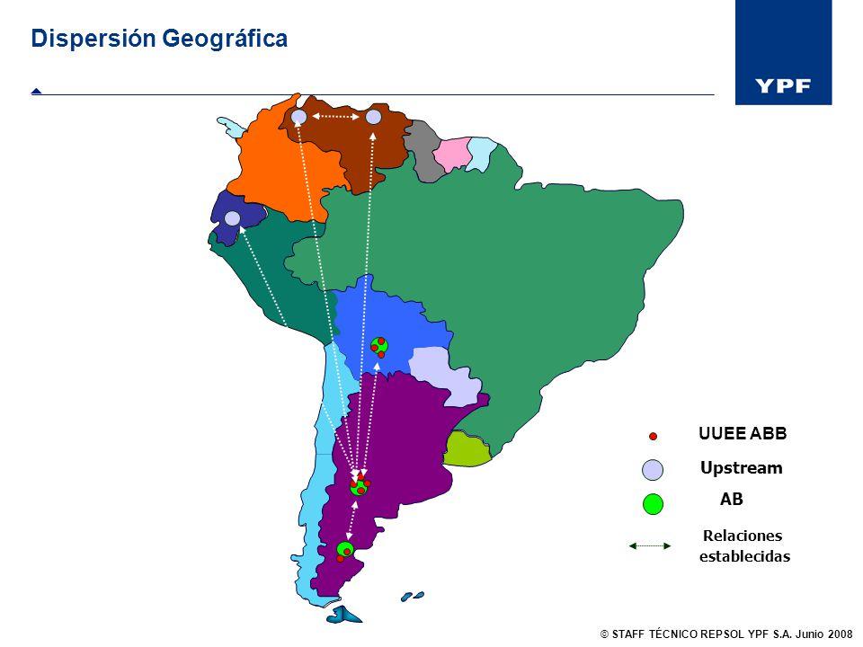 Dispersión Geográfica Upstream AB Relaciones establecidas UUEE ABB © STAFF TÉCNICO REPSOL YPF S.A. Junio 2008