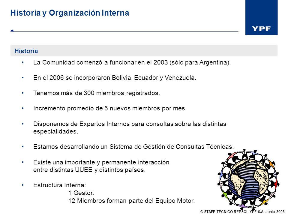 Historia y Organización Interna Métricas: Evolución de Visitas 2007 / 2008 WS Técnico WS Equipo Motor © STAFF TÉCNICO REPSOL YPF S.A.