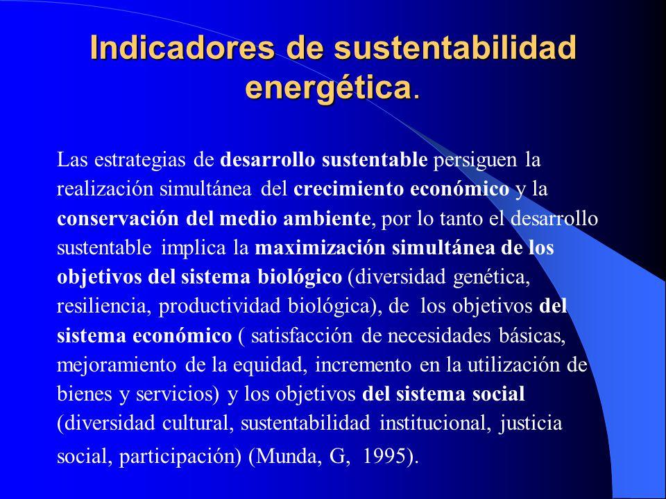 Indicadores de sustentabilidad energética. Las estrategias de desarrollo sustentable persiguen la realización simultánea del crecimiento económico y l