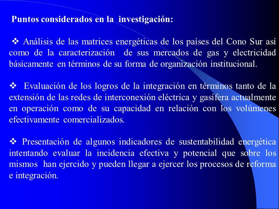 Puntos considerados en la investigación: Análisis de las matrices energéticas de los países del Cono Sur así como de la caracterización de sus mercado