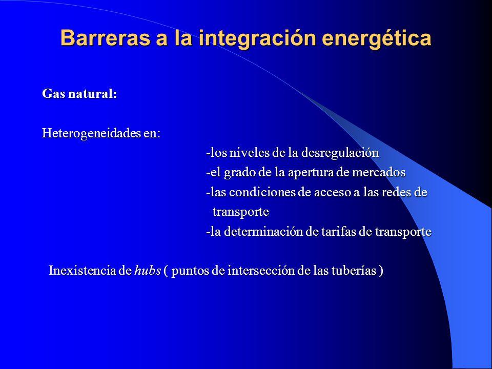 Barreras a la integración energética Barreras a la integración energética Gas natural: Heterogeneidades en: -los niveles de la desregulación -los nive