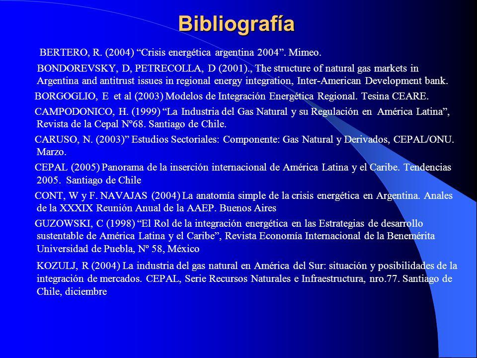 Bibliografía BERTERO, R. (2004) Crisis energética argentina 2004. Mimeo. BONDOREVSKY, D, PETRECOLLA, D (2001)., The structure of natural gas markets i