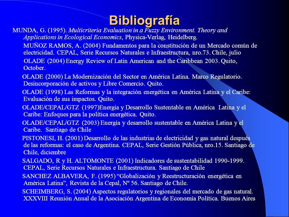 Bibliografía MUNDA, G. (1995). Multicriteria Evaluation in a Fuzzy Environment. Theory and Applications in Ecological Economics, Physica-Verlag, Heide