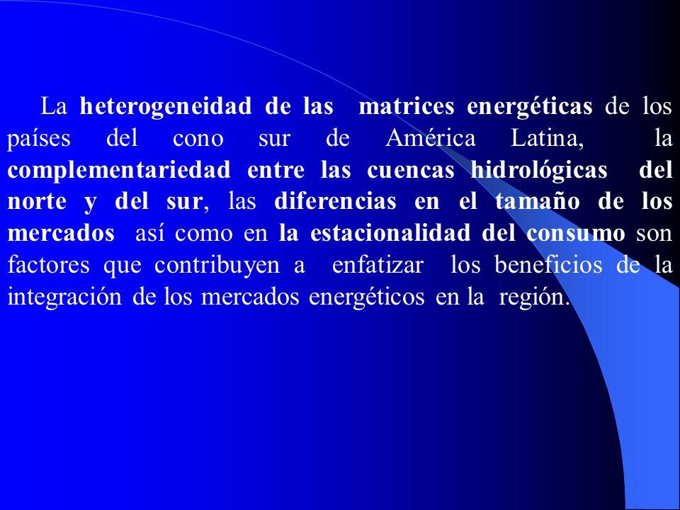 La heterogeneidad de las matrices energéticas de los países del cono sur de América Latina, la complementariedad entre las cuencas hidrológicas del no