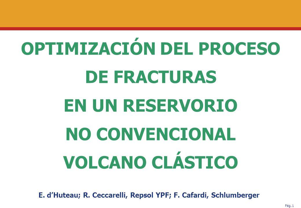 Pág.1 OPTIMIZACIÓN DEL PROCESO DE FRACTURAS EN UN RESERVORIO NO CONVENCIONAL VOLCANO CLÁSTICO E.