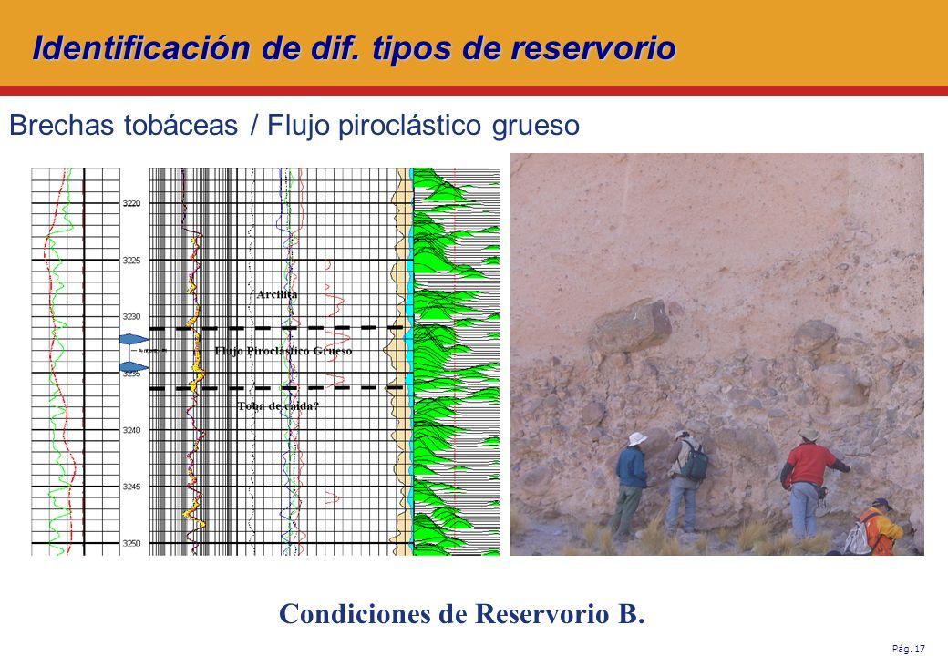 Pág.17 Brechas tobáceas / Flujo piroclástico grueso Condiciones de Reservorio B.