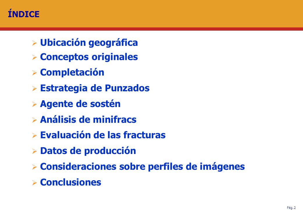 Pág. 2 ÍNDICE Ubicación geográfica Conceptos originales Completación Estrategia de Punzados Agente de sostén Análisis de minifracs Evaluación de las f