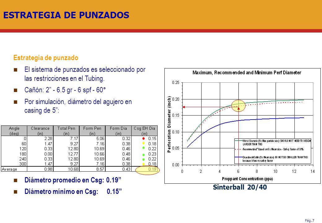 Pág. 7 ESTRATEGIA DE PUNZADOS Estrategia de punzado El sistema de punzados es seleccionado por las restricciones en el Tubing. Cañón: 2 - 6.5 gr - 6 s
